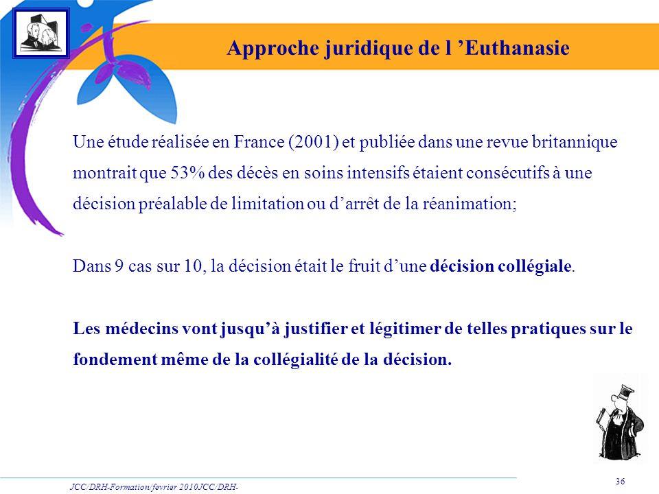 JCC/DRH-Formation/fevrier 2010JCC/DRH- Formation/2009 36 Approche juridique de l Euthanasie Une étude réalisée en France (2001) et publiée dans une re