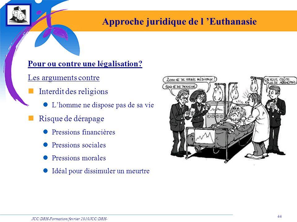 JCC/DRH-Formation/fevrier 2010JCC/DRH- Formation/2009 44 Approche juridique de l Euthanasie Pour ou contre une légalisation? Les arguments contre Inte