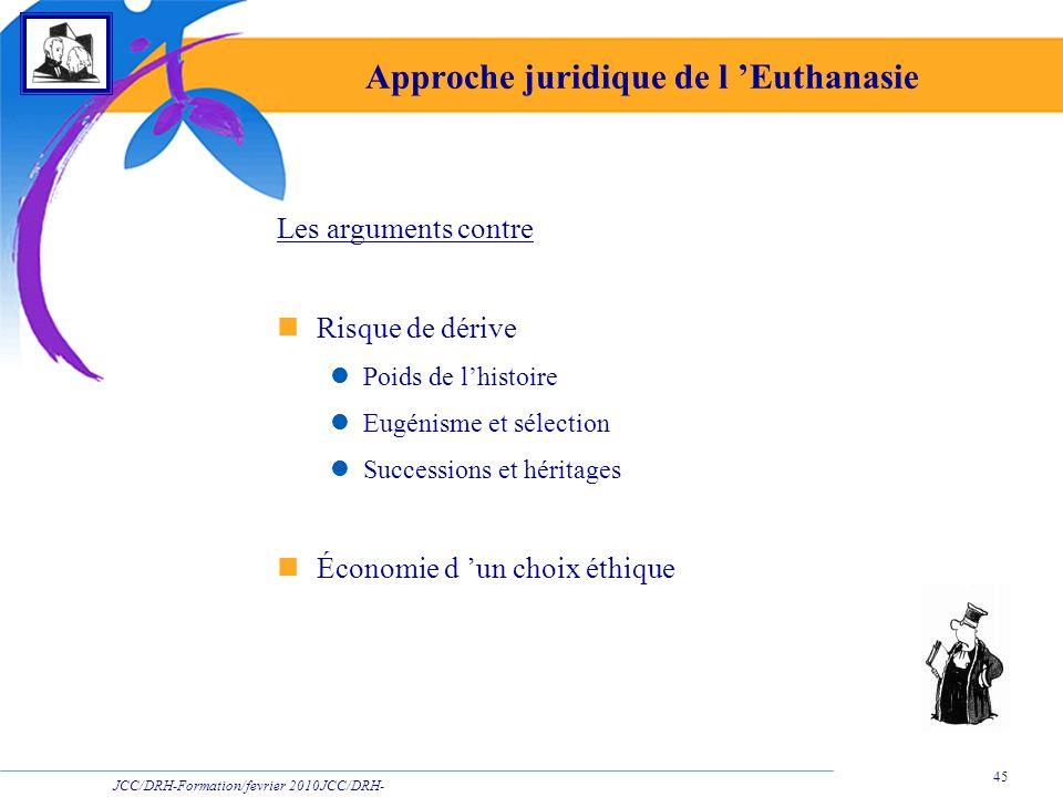JCC/DRH-Formation/fevrier 2010JCC/DRH- Formation/2009 45 Approche juridique de l Euthanasie Les arguments contre Risque de dérive Poids de lhistoire E