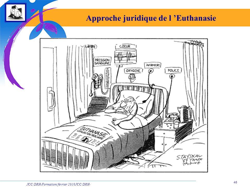 JCC/DRH-Formation/fevrier 2010JCC/DRH- Formation/2009 46 Approche juridique de l Euthanasie