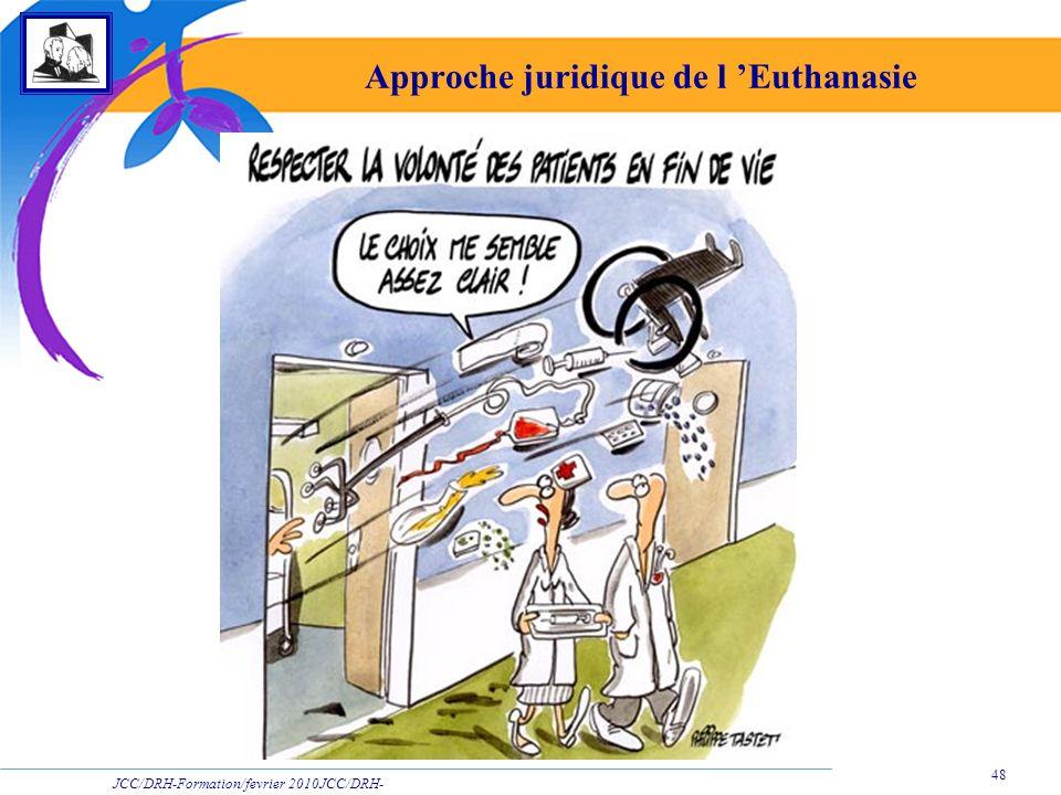 JCC/DRH-Formation/fevrier 2010JCC/DRH- Formation/2009 48 Approche juridique de l Euthanasie