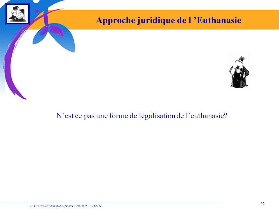 JCC/DRH-Formation/fevrier 2010JCC/DRH- Formation/2009 52 Approche juridique de l Euthanasie Nest ce pas une forme de légalisation de leuthanasie?