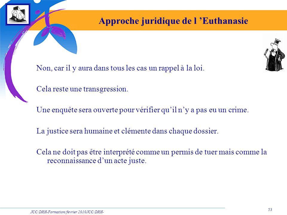 JCC/DRH-Formation/fevrier 2010JCC/DRH- Formation/2009 53 Approche juridique de l Euthanasie Non, car il y aura dans tous les cas un rappel à la loi. C
