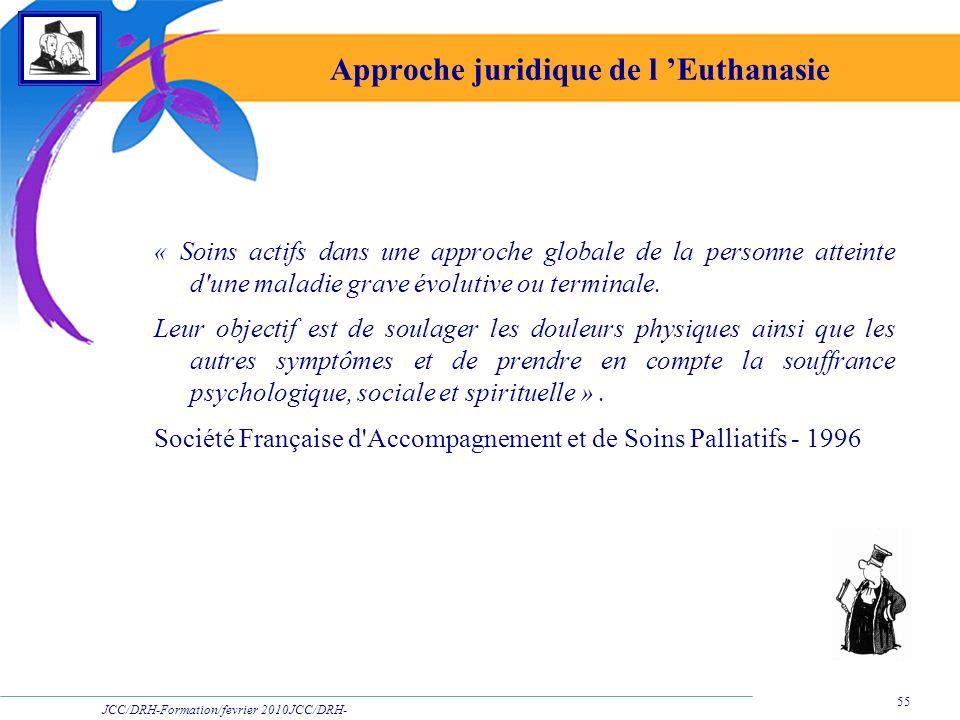 JCC/DRH-Formation/fevrier 2010JCC/DRH- Formation/2009 55 Approche juridique de l Euthanasie « Soins actifs dans une approche globale de la personne at