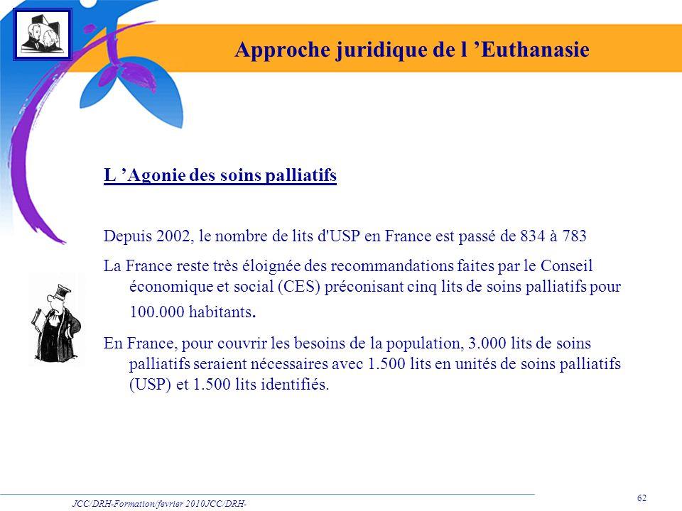 JCC/DRH-Formation/fevrier 2010JCC/DRH- Formation/2009 62 Approche juridique de l Euthanasie L Agonie des soins palliatifs Depuis 2002, le nombre de li