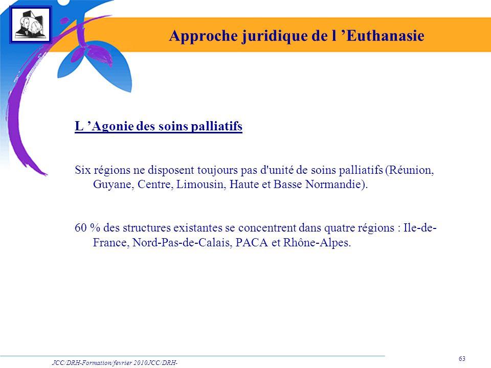 JCC/DRH-Formation/fevrier 2010JCC/DRH- Formation/2009 63 Approche juridique de l Euthanasie L Agonie des soins palliatifs Six régions ne disposent tou