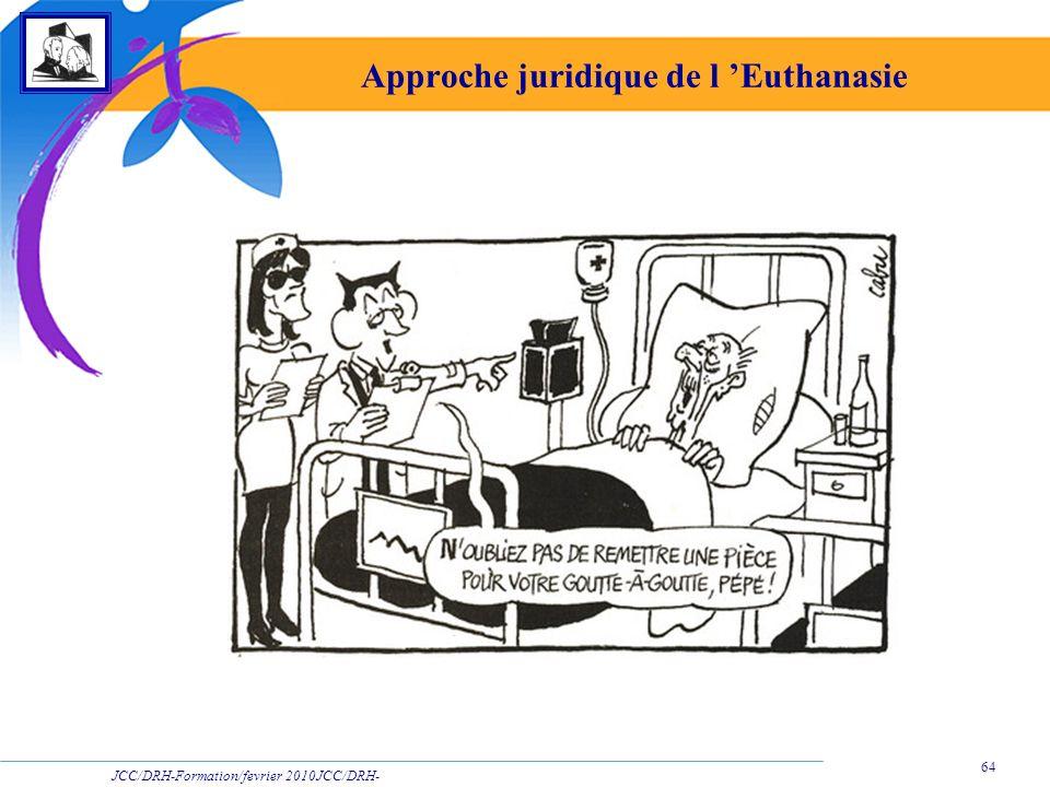 JCC/DRH-Formation/fevrier 2010JCC/DRH- Formation/2009 64 Approche juridique de l Euthanasie