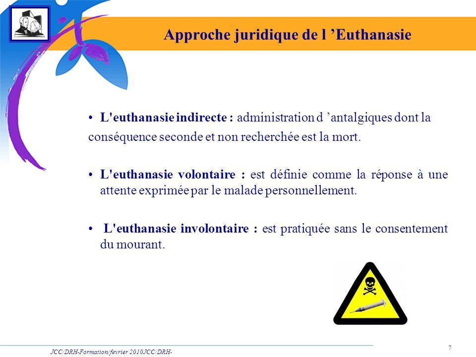 JCC/DRH-Formation/fevrier 2010JCC/DRH- Formation/2009 7 Approche juridique de l Euthanasie L'euthanasie indirecte : administration d antalgiques dont