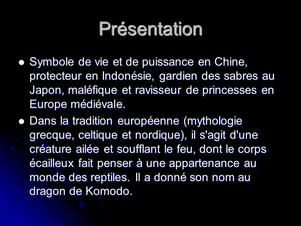 Symbole de vie et de puissance en Chine, protecteur en Indonésie, gardien des sabres au Japon, maléfique et ravisseur de princesses en Europe médiéval