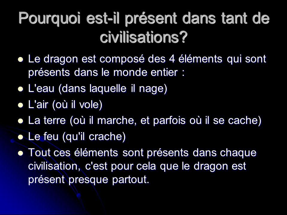 Pourquoi est-il présent dans tant de civilisations? Le dragon est composé des 4 éléments qui sont présents dans le monde entier : Le dragon est compos