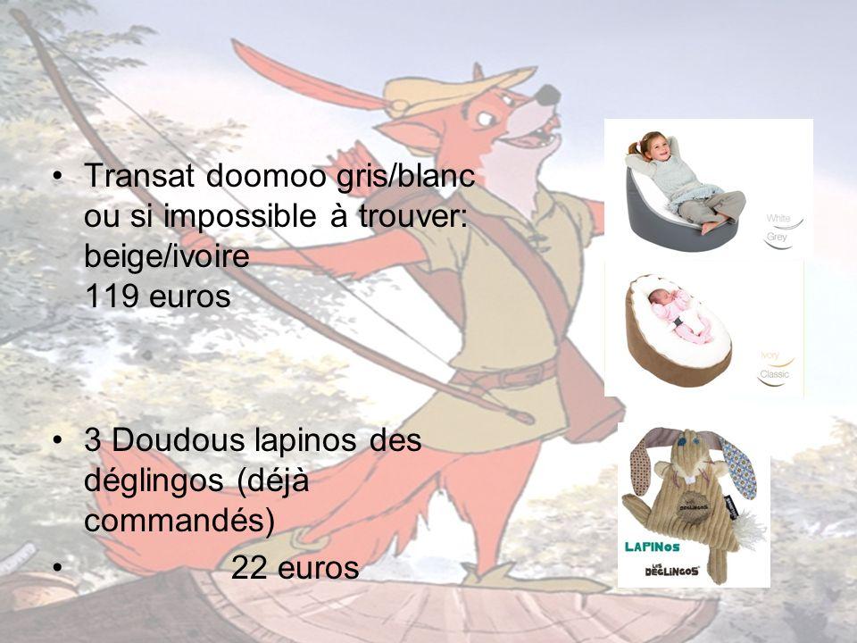 Transat doomoo gris/blanc ou si impossible à trouver: beige/ivoire 119 euros 3 Doudous lapinos des déglingos (déjà commandés) 22 euros