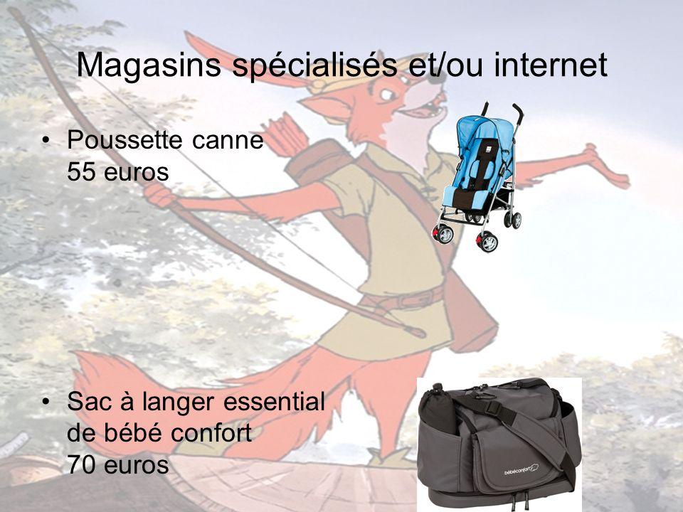 Magasins spécialisés et/ou internet Poussette canne 55 euros Sac à langer essential de bébé confort 70 euros