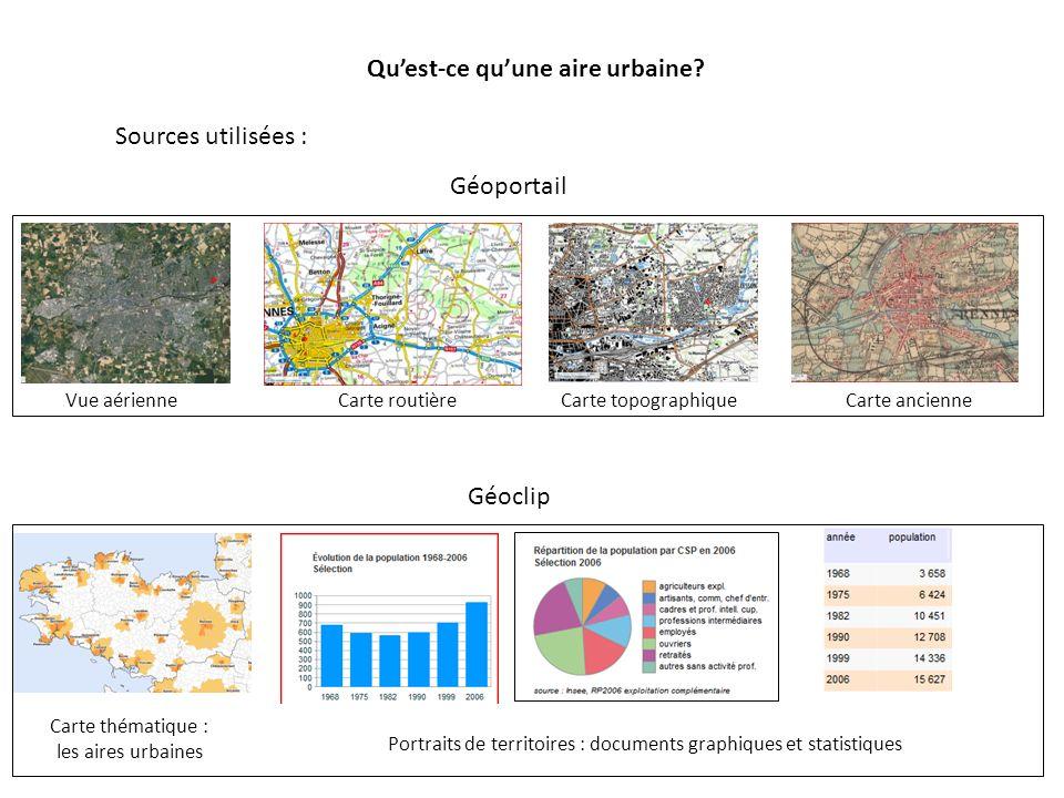 Quest-ce quune aire urbaine? Géoportail Sources utilisées : Géoclip Vue aérienneCarte routièreCarte topographiqueCarte ancienne Carte thématique : les