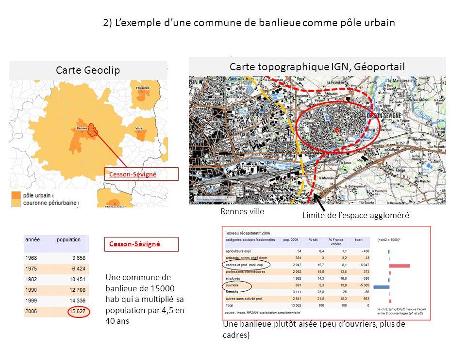 Cesson-Sévigné Rennes ville Limite de lespace aggloméré Carte Geoclip Carte topographique IGN, Géoportail 2) Lexemple dune commune de banlieue comme p