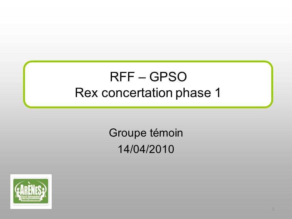 Groupe témoin 14/04/2010 RFF – GPSO Rex concertation phase 1 1