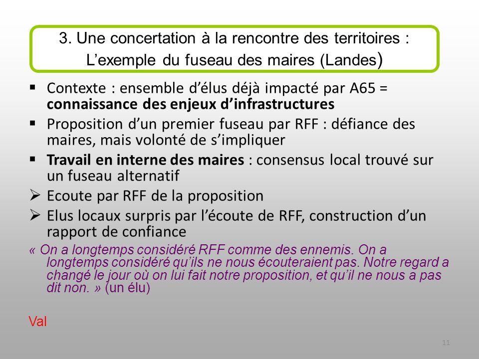 Contexte : ensemble délus déjà impacté par A65 = connaissance des enjeux dinfrastructures Proposition dun premier fuseau par RFF : défiance des maires