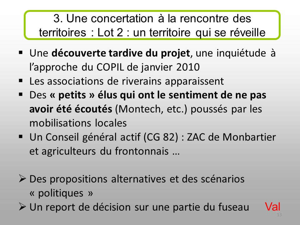 Une découverte tardive du projet, une inquiétude à lapproche du COPIL de janvier 2010 Les associations de riverains apparaissent Des « petits » élus q