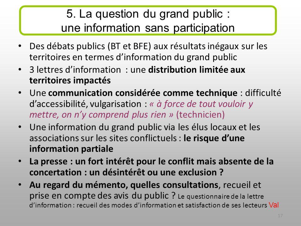 Des débats publics (BT et BFE) aux résultats inégaux sur les territoires en termes dinformation du grand public 3 lettres dinformation : une distribut