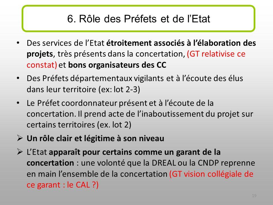 Des services de lEtat étroitement associés à lélaboration des projets, très présents dans la concertation, (GT relativise ce constat) et bons organisa