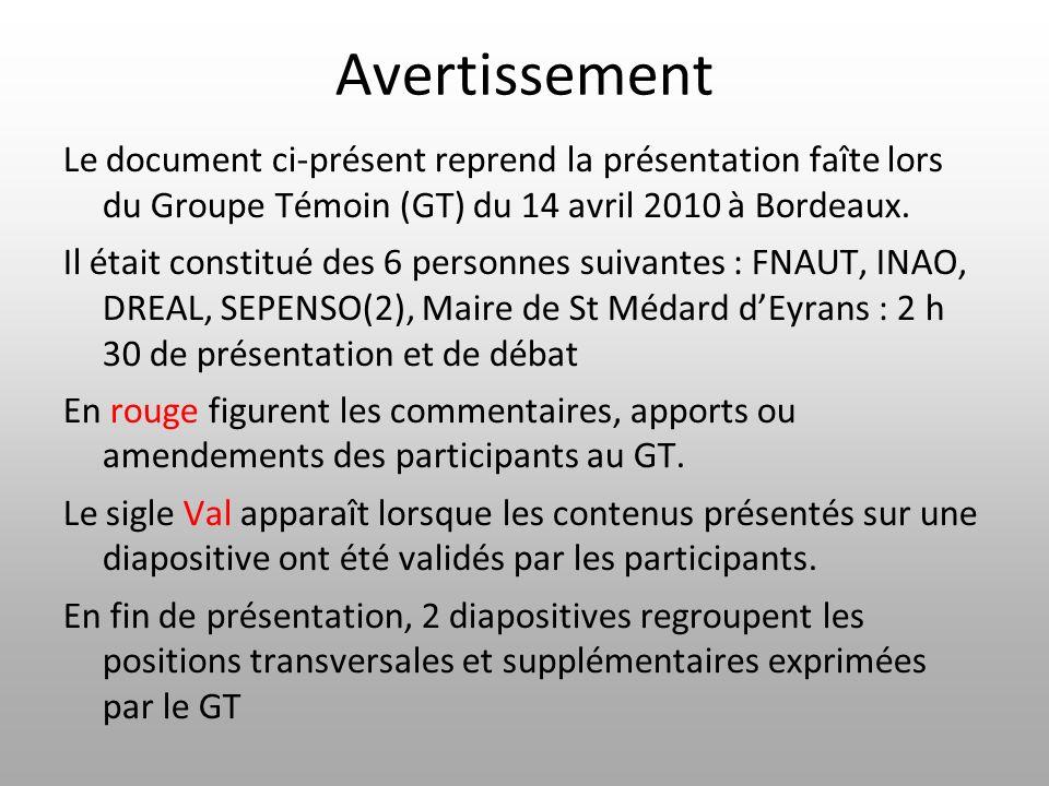 Avertissement Le document ci-présent reprend la présentation faîte lors du Groupe Témoin (GT) du 14 avril 2010 à Bordeaux. Il était constitué des 6 pe