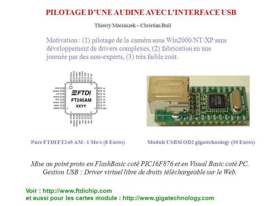 PILOTAGE DUNE AUDINE AVEC LINTERFACE USB Puce FTDI FT245 AM - 1 Mo/s (8 Euros)Module USBM OD2 gigatechnology (30 Euros) Motivation : (1) pilotage de l