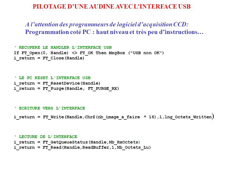PILOTAGE DUNE AUDINE AVEC LINTERFACE USB RECUPERE LE HANDLER L'INTERFACE USB If FT_Open(0, Handle) <> FT_OK Then MsgBox (