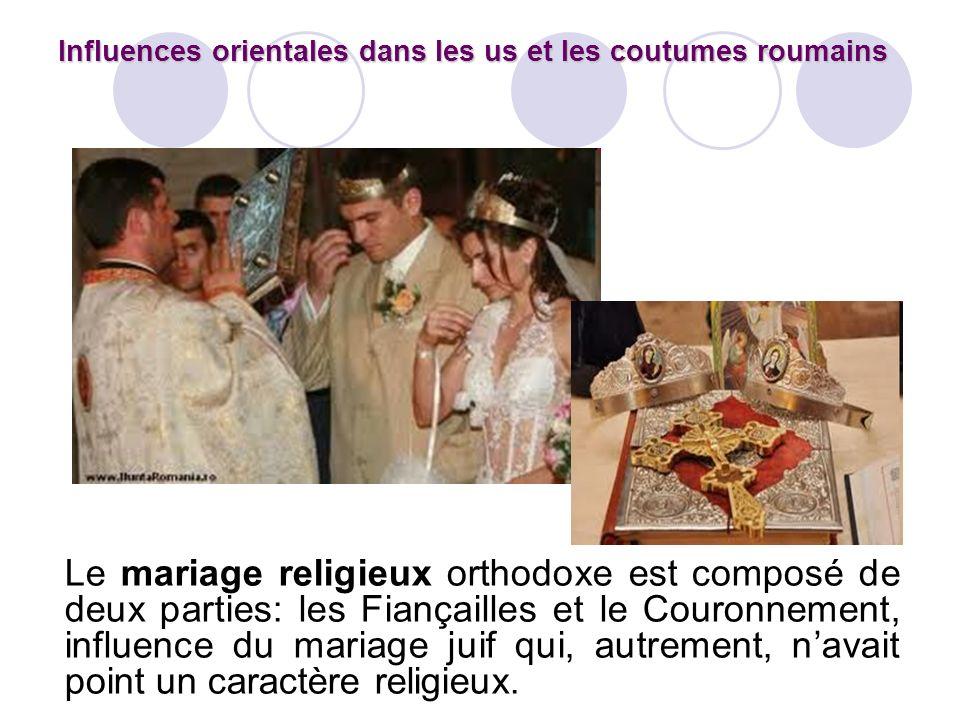 Le mariage religieux orthodoxe est composé de deux parties: les Fiançailles et le Couronnement, influence du mariage juif qui, autrement, navait point