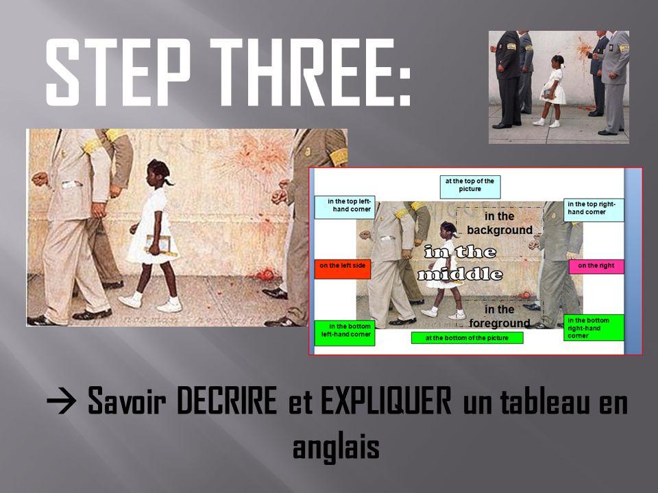 STEP THREE: Savoir DECRIRE et EXPLIQUER un tableau en anglais