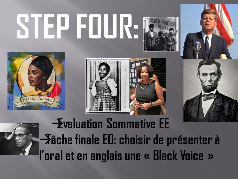 STEP FOUR: Evaluation Sommative EE Tâche finale EO: choisir de présenter à loral et en anglais une « Black Voice »