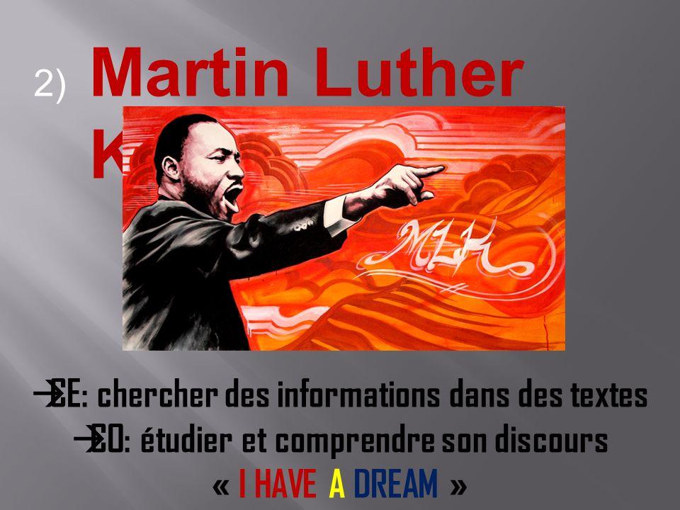 2) Martin Luther King CE: chercher des informations dans des textes CO: étudier et comprendre son discours « I HAVE A DREAM »