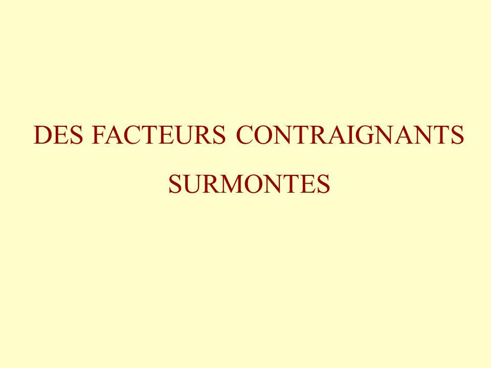 DES FACTEURS CONTRAIGNANTS SURMONTES