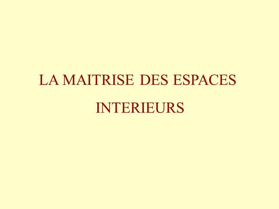 LA MAITRISE DES ESPACES INTERIEURS