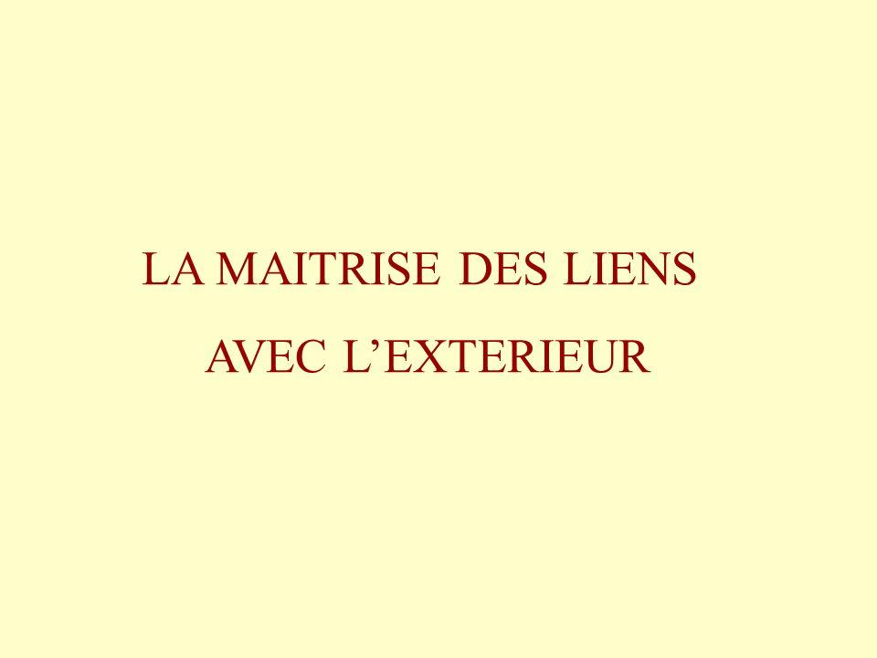 LA MAITRISE DES LIENS AVEC LEXTERIEUR