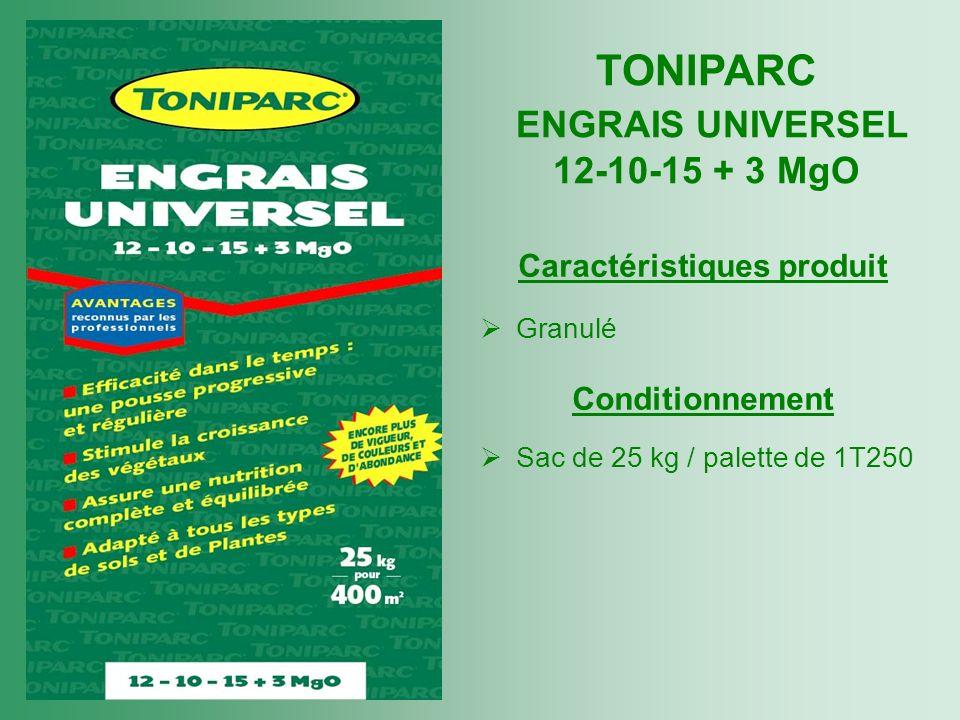 Caractéristiques produit Granulé Conditionnement Sac de 25 kg / palette de 1T250 TONIPARC ENGRAIS UNIVERSEL 12-10-15 + 3 MgO