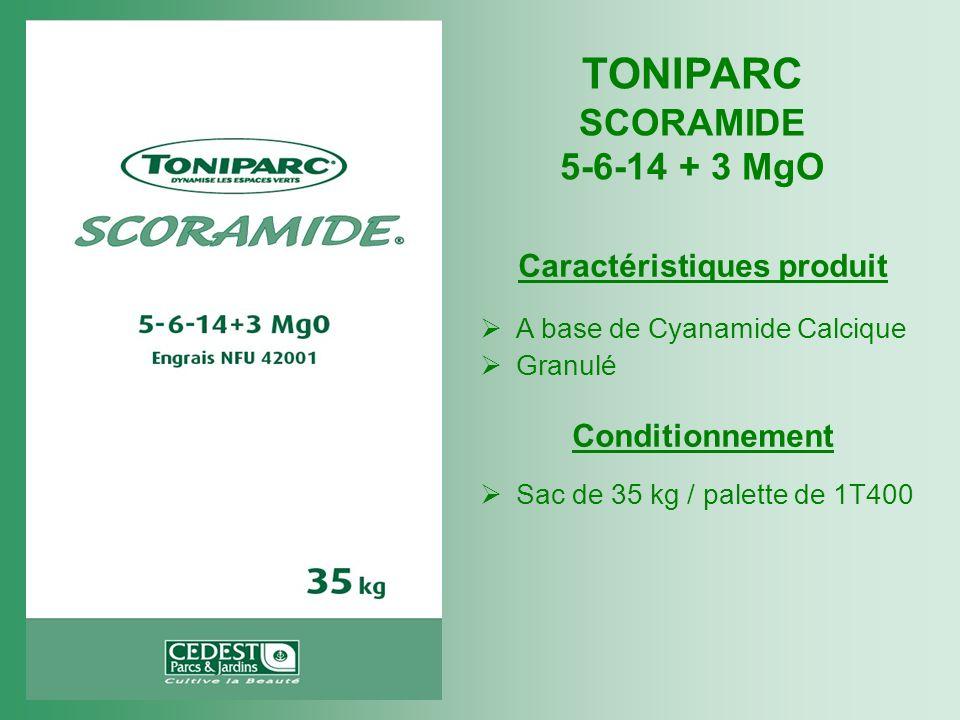 TONIPARC SCORAMIDE 5-6-14 + 3 MgO Caractéristiques produit A base de Cyanamide Calcique Granulé Conditionnement Sac de 35 kg / palette de 1T400