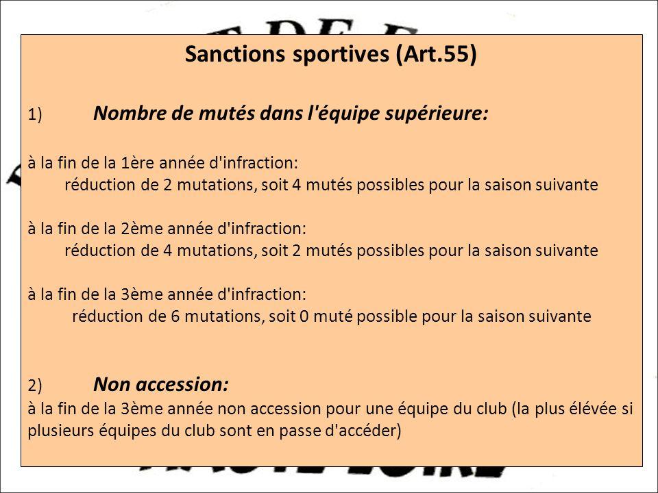 a Sanctions sportives (Art.55) 1) Nombre de mutés dans l équipe supérieure: à la fin de la 1ère année d infraction: réduction de 2 mutations, soit 4 mutés possibles pour la saison suivante à la fin de la 2ème année d infraction: réduction de 4 mutations, soit 2 mutés possibles pour la saison suivante à la fin de la 3ème année d infraction: réduction de 6 mutations, soit 0 muté possible pour la saison suivante 2) Non accession: à la fin de la 3ème année non accession pour une équipe du club (la plus élévée si plusieurs équipes du club sont en passe d accéder)