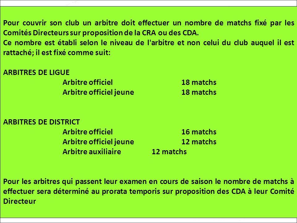Pour couvrir son club un arbitre doit effectuer un nombre de matchs fixé par les Comités Directeurs sur proposition de la CRA ou des CDA.