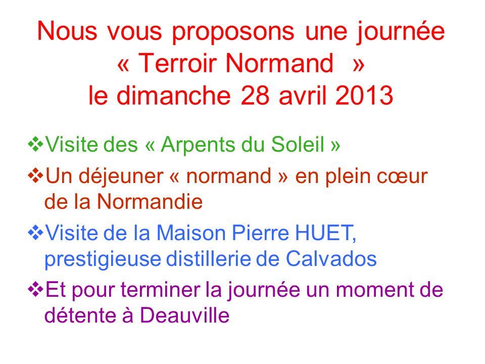 Visite des « Arpents du Soleil » Un déjeuner « normand » en plein cœur de la Normandie Visite de la Maison Pierre HUET, prestigieuse distillerie de Ca