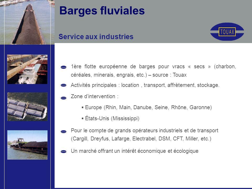 1ère flotte européenne de barges pour vracs « secs » (charbon, céréales, minerais, engrais, etc.) – source : Touax Activités principales : location, transport, affrètement, stockage.
