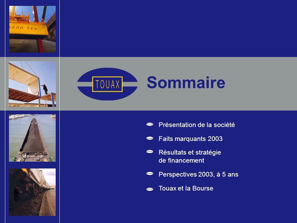 Sommaire Présentation de la société Faits marquants 2003 Résultats et stratégie de financement Perspectives 2003, à 5 ans Touax et la Bourse