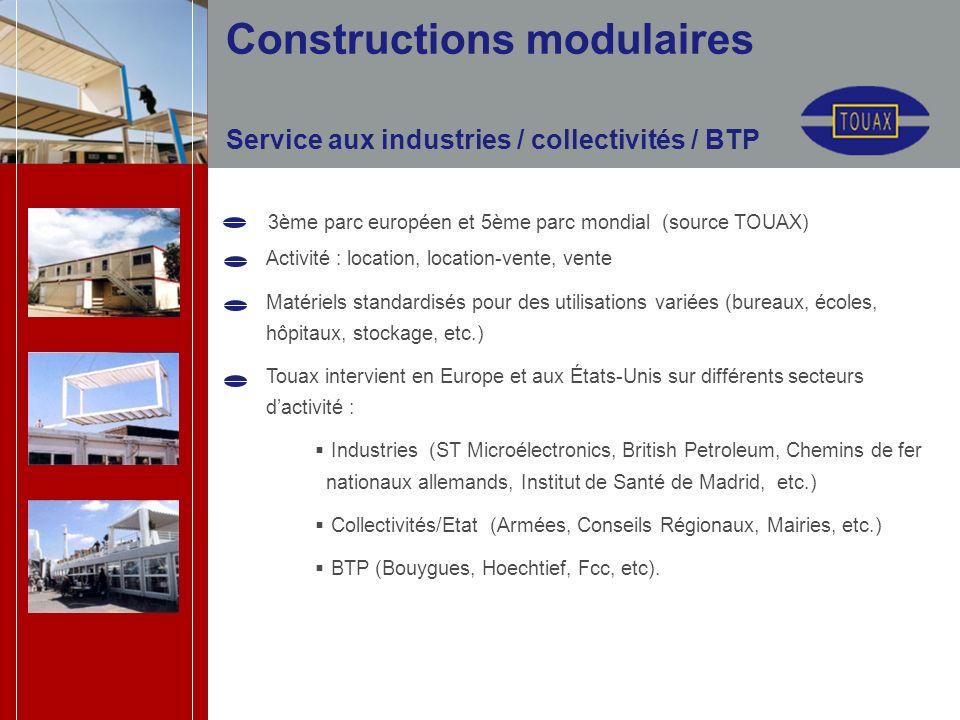Service aux industries / collectivités / BTP Activité : location, location-vente, vente Matériels standardisés pour des utilisations variées (bureaux,