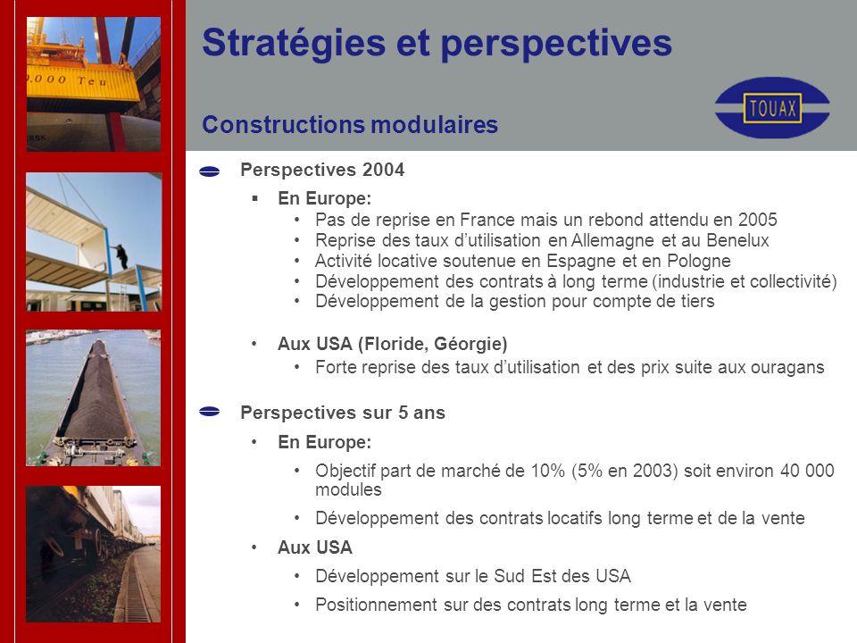 Constructions modulaires Perspectives 2004 En Europe: Pas de reprise en France mais un rebond attendu en 2005 Reprise des taux dutilisation en Allemagne et au Benelux Activité locative soutenue en Espagne et en Pologne Développement des contrats à long terme (industrie et collectivité) Développement de la gestion pour compte de tiers Aux USA (Floride, Géorgie) Forte reprise des taux dutilisation et des prix suite aux ouragans Perspectives sur 5 ans En Europe: Objectif part de marché de 10% (5% en 2003) soit environ 40 000 modules Développement des contrats locatifs long terme et de la vente Aux USA Développement sur le Sud Est des USA Positionnement sur des contrats long terme et la vente Stratégies et perspectives