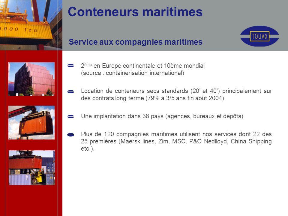 Conteneurs maritimes Service aux compagnies maritimes 2 ème en Europe continentale et 10ème mondial (source : containerisation international) Location de conteneurs secs standards (20 et 40) principalement sur des contrats long terme (79% à 3/5 ans fin août 2004) Une implantation dans 38 pays (agences, bureaux et dépôts) Plus de 120 compagnies maritimes utilisent nos services dont 22 des 25 premières (Maersk lines, Zim, MSC, P&O Nedlloyd, China Shipping etc.).