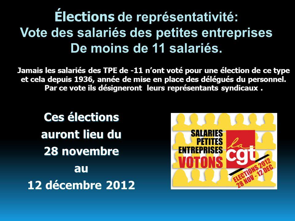 Élections de représentativité: Vote des salariés des petites entreprises De moins de 11 salariés.Ces élections auront lieu du 28 novembre au 12 décemb