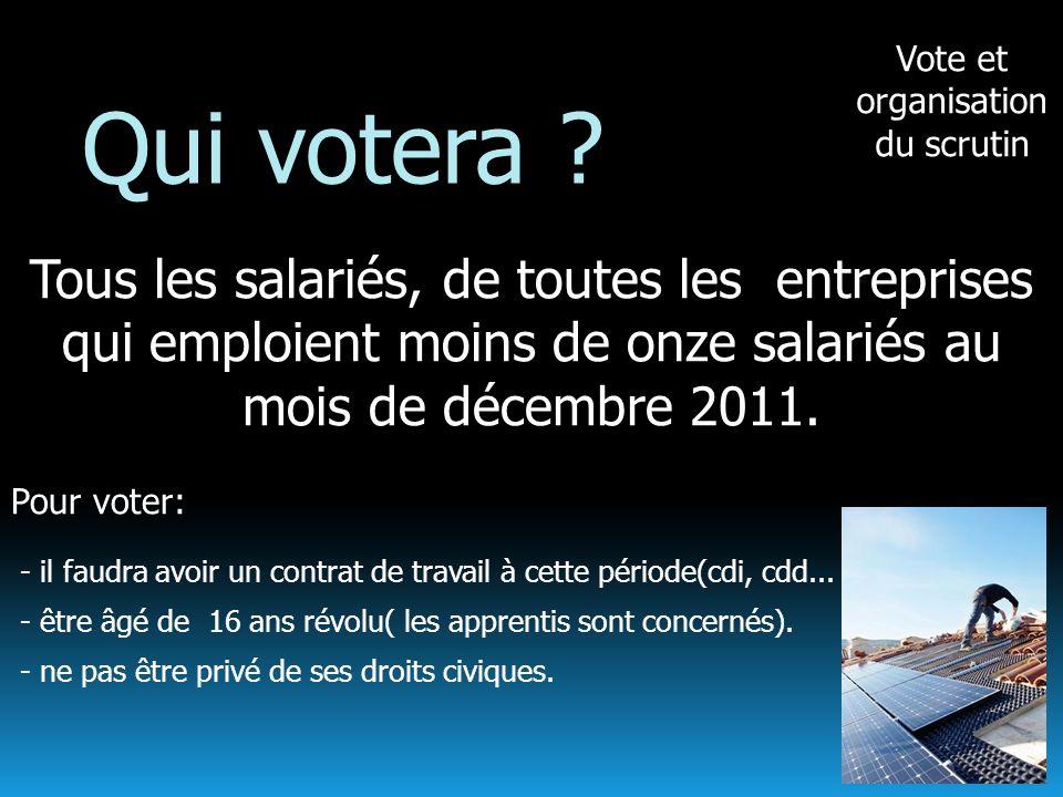 Vote et organisation du scrutin Qui votera ? Tous les salariés, de toutes les entreprises qui emploient moins de onze salariés au mois de décembre 201