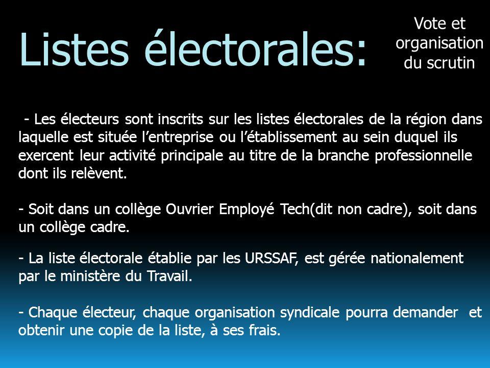 Vote et organisation du scrutin Listes électorales: -- Les électeurs sont inscrits sur les listes électorales de la région dans laquelle est située le