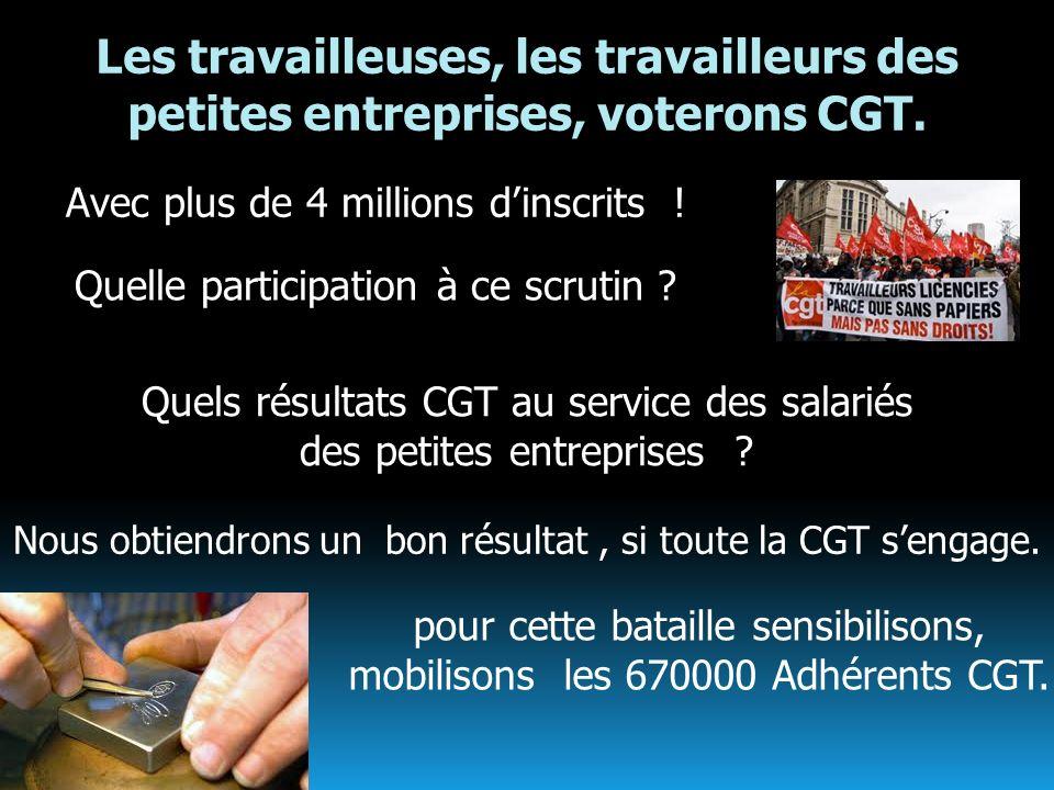 Les travailleuses, les travailleurs des petites entreprises, voterons CGT. Avec plus de 4 millions dinscrits ! Quelle participation à ce scrutin ? Nou
