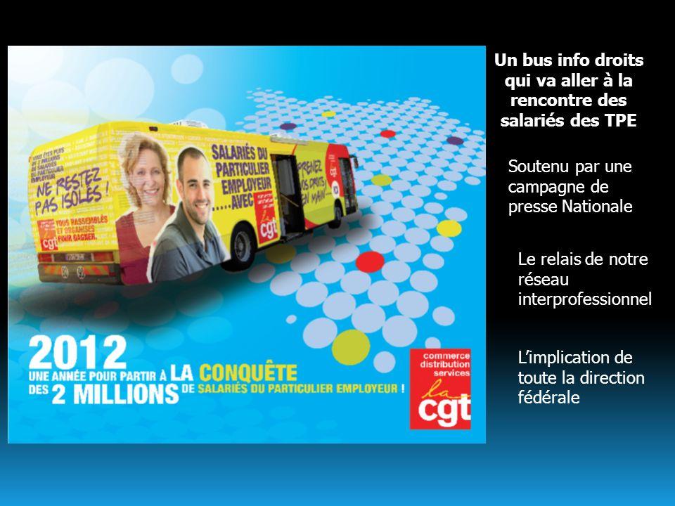Un bus info droits qui va aller à la rencontre des salariés des TPE Soutenu par une campagne de presse Nationale Le relais de notre réseau interprofes