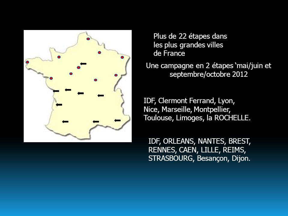 Plus de 22 étapes dans les plus grandes villes de France IDF, Clermont Ferrand, Lyon, Nice, Marseille, Montpellier, Toulouse, Limoges, la ROCHELLE. Un