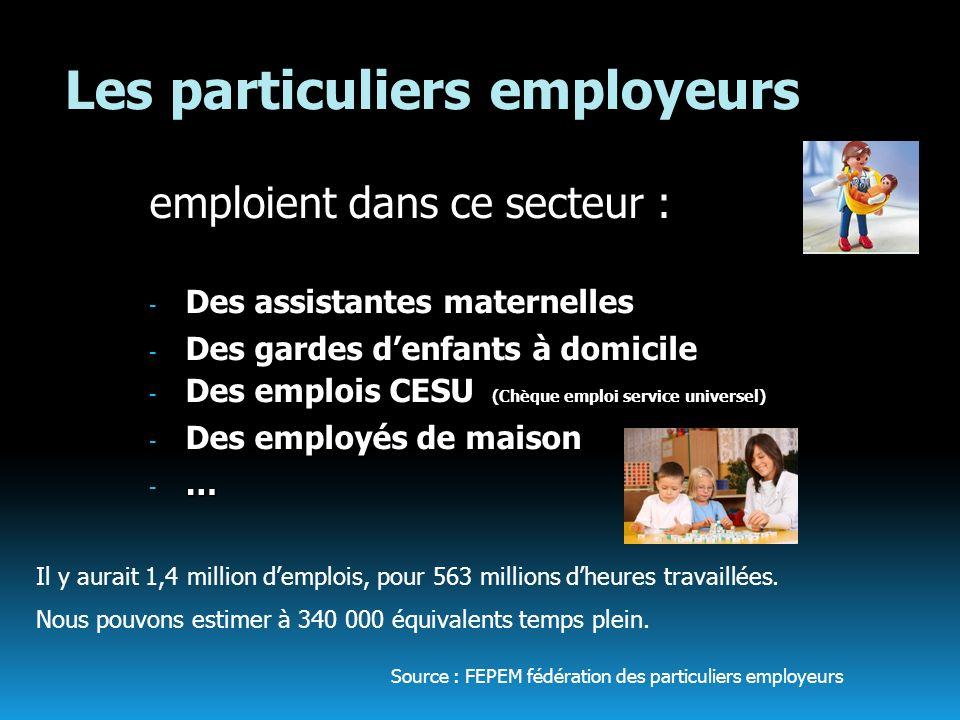 Les particuliers employeurs emploient dans ce secteur : - Des assistantes maternelles - Des gardes denfants à domicile - Des emplois CESU (Chèque empl